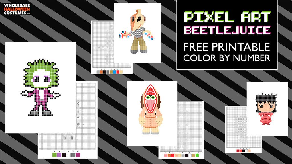 Free Beetlejuice Pixel Art Coloring Pages Wholesale Halloween Costumes Blog