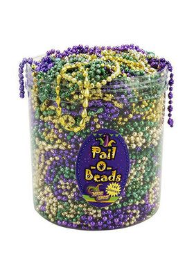 144 Piece Bucket of Mardi Gras Beads