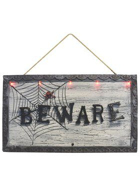 "18.5 "" Light up Animated Beware Sign Decoration"