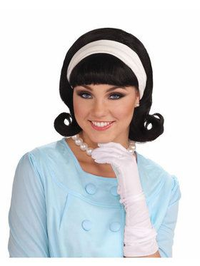 1950s Wig w/detachable Headband Black Adult