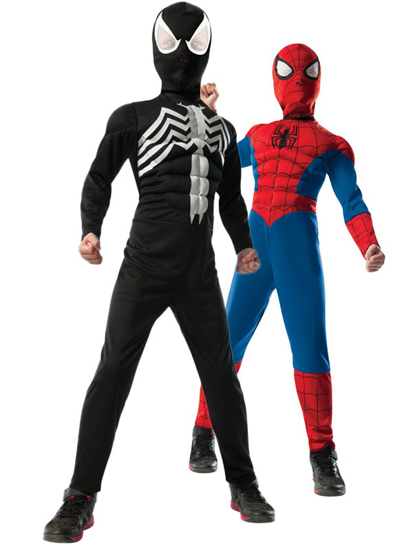 2-1 Ultimate Reversible Spiderman Costume for Kids R880799-M