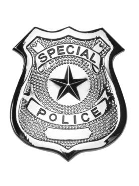 2.5 Inches Metal Silver Police Badge