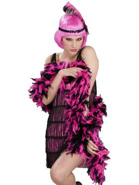 1920s Pink and Black Boa Accessory