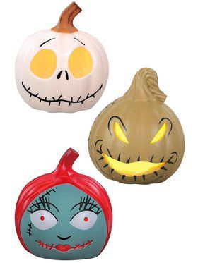 The Nightmare Before Christmas 3 Piece Light Up Pumpkin Assortment - 3.25""