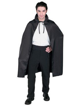 45 Inch Adult Black Satin Cape