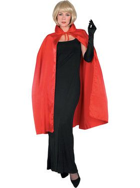 45 Inch Adult Red Satin Cape