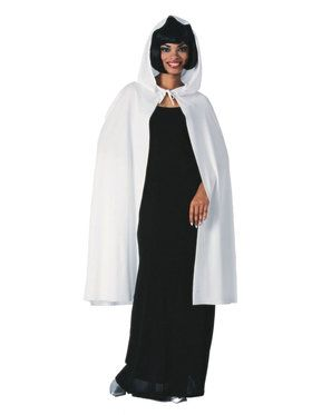 """45"""" White Hooded Cape"""