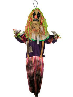 5' Light Up Animated Hanging Scarecrow Clown Decoration