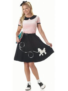 50s Hop W Poodle Skirt Adult Costume