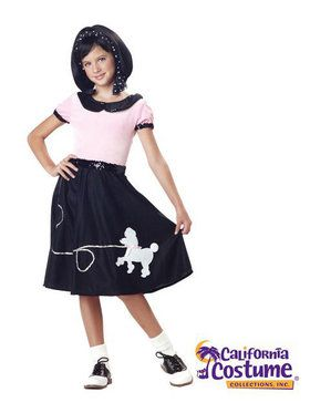 50s Hop W Poodle Skirt Child Costume
