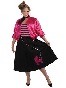 50's Poodle Skirtset Plus Size Costume