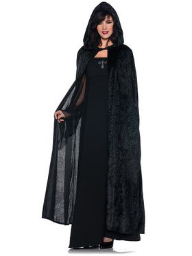 "55"" Hooded Unisex Cloak Black Women's Costume"
