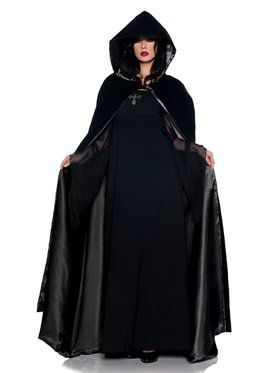 "63"" Deluxe Black Velvet & Satin Adult Cape"