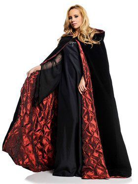 "63"" Deluxe Black Velvet w/ Red Satin Adult Cape"
