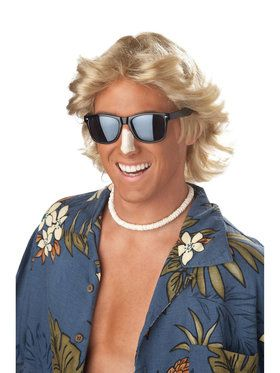 70's Blonde Feathered Hair Mens Wig