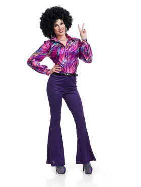 70'S Women Disco Pants - Purple