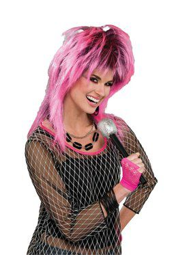 80s Electric Pink Wig for Adults