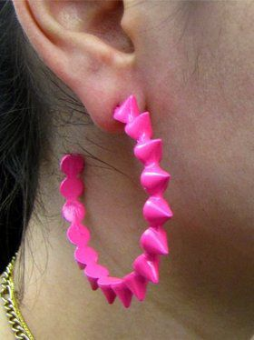 80s Hot Pink Hoop Earrings