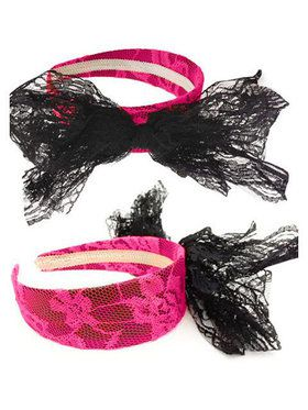 80's Lace Headband with Bow