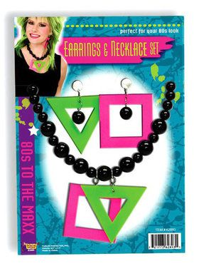 80s Neon Earrings and Necklace Set