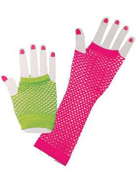 80's Neon Fishnet Glove Set
