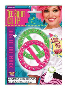 80's Pink and Green Tee Shirt Clips
