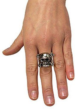 Adjustable Skull Ring with Pewter Finish