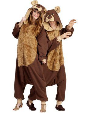 Adult Bailey Bear Hooded Furry Jumpsuit