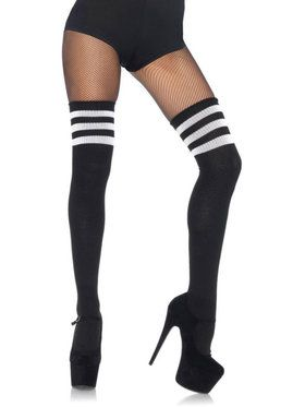 Adult Black-White Athletic Thigh Highs