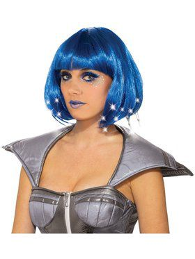 Blue Light Up Adult Wig