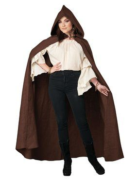 Brown Hooded Adult Cloak (OS)