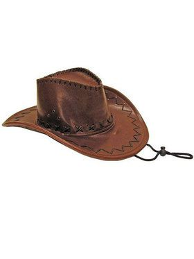 Adult Brown Leatherette Cowboy Hat