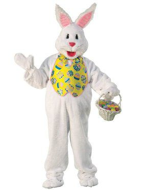 Adult Bunny Costume Deluxe with Yellow Vest and Mascot Head - Standard