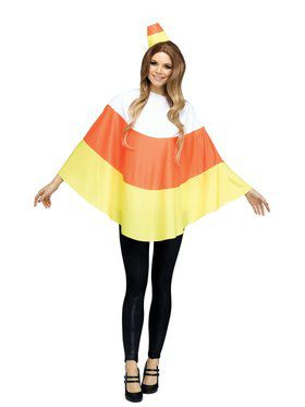 Candy Corn Adult Poncho Costume