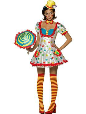 Adult Colorful Female Clown Costume
