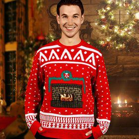 Adult Crackling Fireplace Sweater