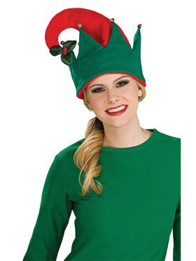 Adult Elf Hat With Mistletoe