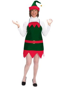Adult Elf Holiday Apron & Hat Costume