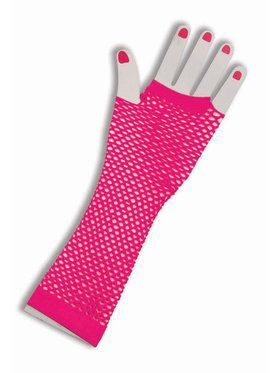Fishnet Fingerless Long Pink Gloves for Adults