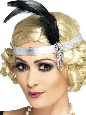 Adult Flapper Headband with Silver Band