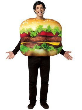 Adult Flat Cheeseburger Unisex Costume