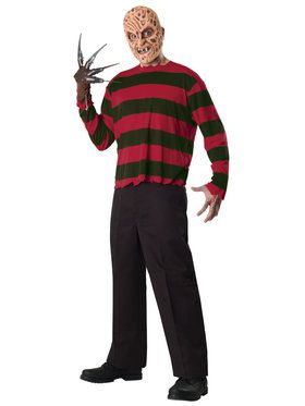 Adult Freddy Krueger Mask and Printed Shirt