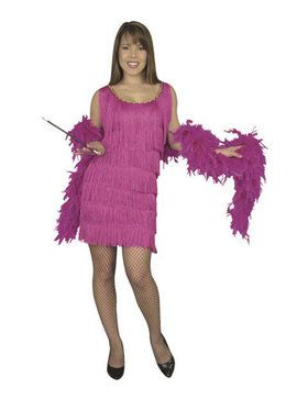 Adult Fuchsia Fashion Flapper Plus Size Costume