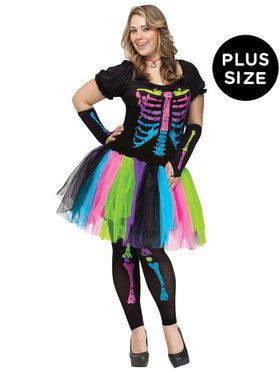Plus Size Adult Funky Punk Bones Costume For Adults