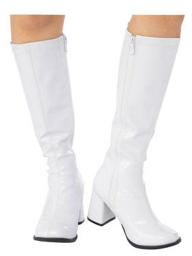 Adult White GoGo Boots