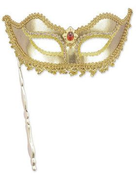 Adult Gold Mardi Gras Mask With Stick