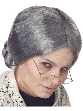 Adult Grey Grandma Wig