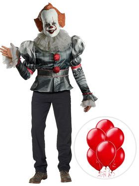 Adult IT Pennywise Clown Deluxe Costume Kit with Balloons