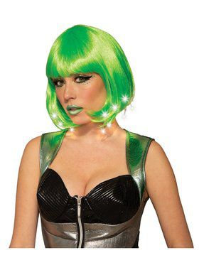 Lime Green Light Up Adult Wig