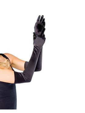 Adult Long Black Satin Gloves